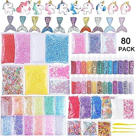 Chosky Slime Supplies – Kit de 80 paquetes incluyen bolas de espuma, perlas de pecera