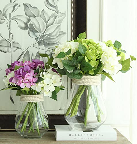 Noah Decoration Hand-Blown and Handmade Hemp Clear Glass Transparent Flower and Filler Vase for Home and Wedding Indoor and Outdoor Decoration Size Large