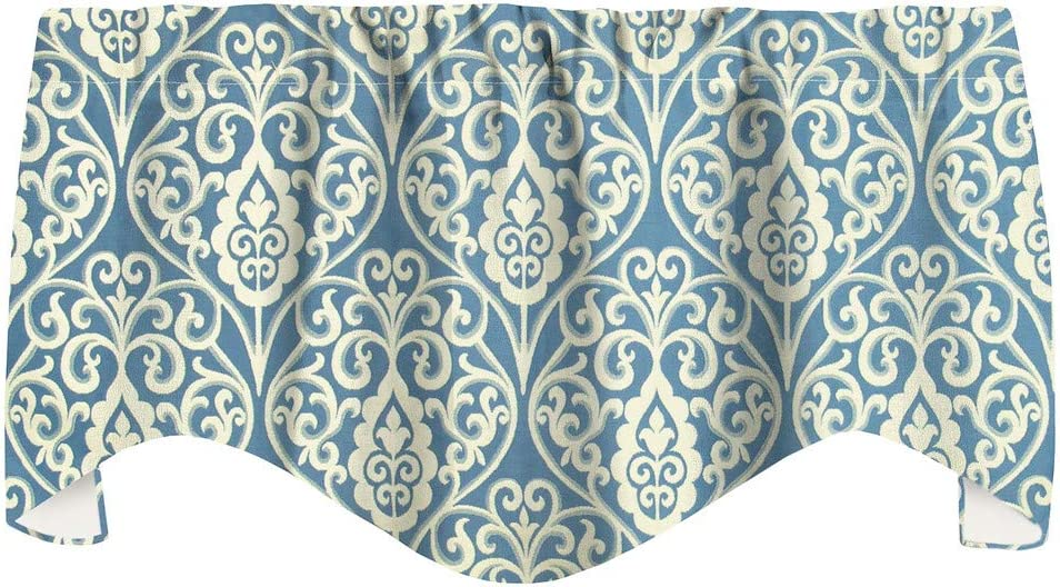 Window Treatments Valance Curtains Kitchen Window Valances or Living Room, Williamsburg Blue Curtains Swag, Scroll Fabric