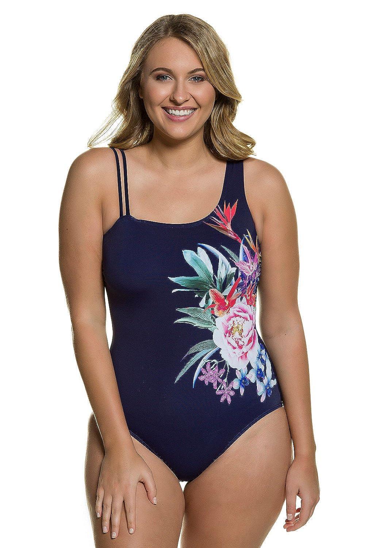 Ulla Popken Damen große Größen | Badeanzug mit Blütenmotiv | dreifache Träger | Softcup-Büste | Unterbrustband | bis Größe 56 | 710891