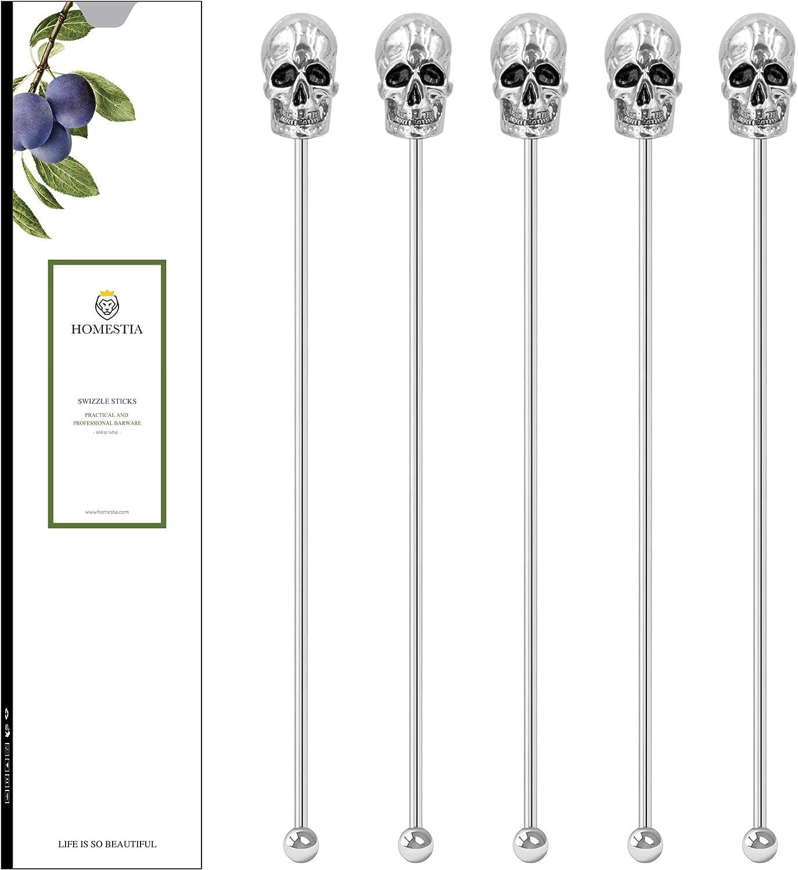 "Homestia Skull Coffee Stirrers Swizzle Sticks Stainless Steel 8"" Reusable Beverage Stir Sticks Set of 5 Gift Set"