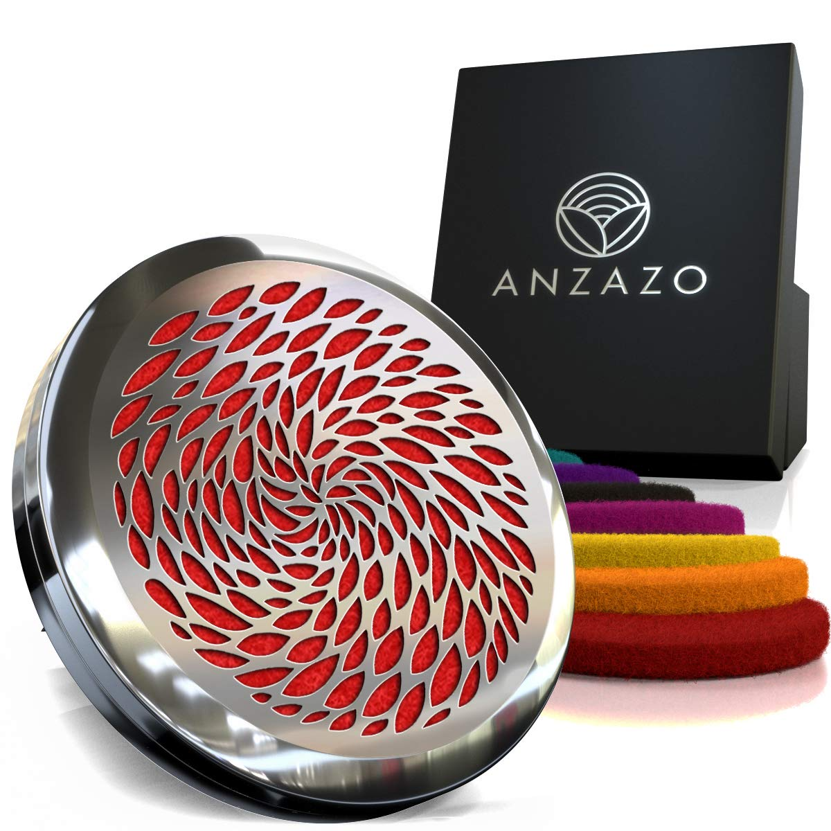 Anzazo Car Essential Oil Diffuser - 1.5' Magnetic Locket Set with Air Vent Clip - Best for Aromatherapy - Fragrance Air Freshener, Scents Diffusers - Jewelry for Car, Retro Leafs