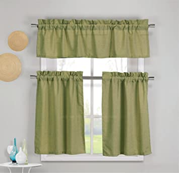 3 Piece Faux Cotton Kitchen Window Curtain Panel Set with 1 Valance and 2  Tier Panel Curtains (Moss Green)