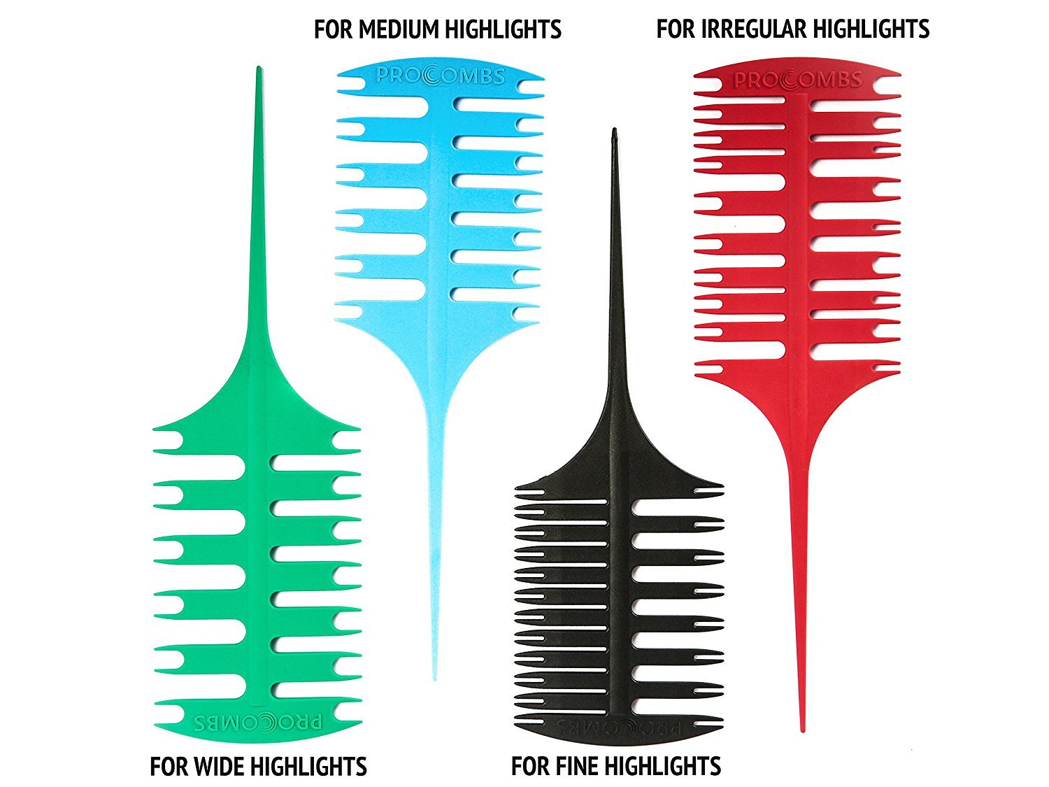 SET of 4 Professional Weaving & Sectioning Foiling Comb's For Hair Coloring Microblading & Highlighting by ProCombs