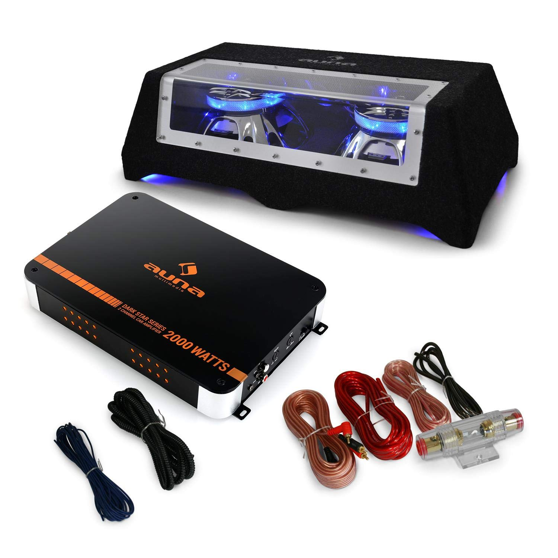 AUNA Black Line 120 Pack Subwoofer Voiture de 60 x 21 x 32cm - Caisson de Basse et Ampli (fourni avec câble) - Noir
