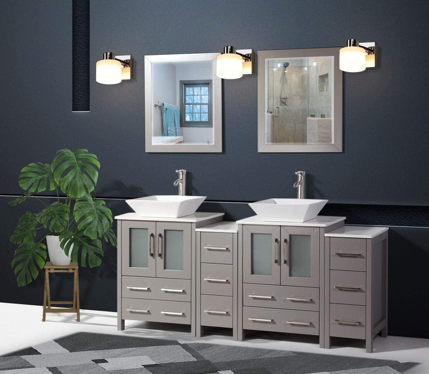 Amazon Com Vanity Art 72 Inch Double Sink Bathroom Vanity Compact Set 4 Cabinets 2 Shelves 10 Drawers Quartz Top And Ceramic Vessel Sink Bathroom Cabinet With Free Mirror Va3124 72 G Kitchen Dining