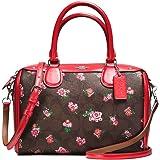 Coach Leather Handbag Bag Multicolor Floral Red