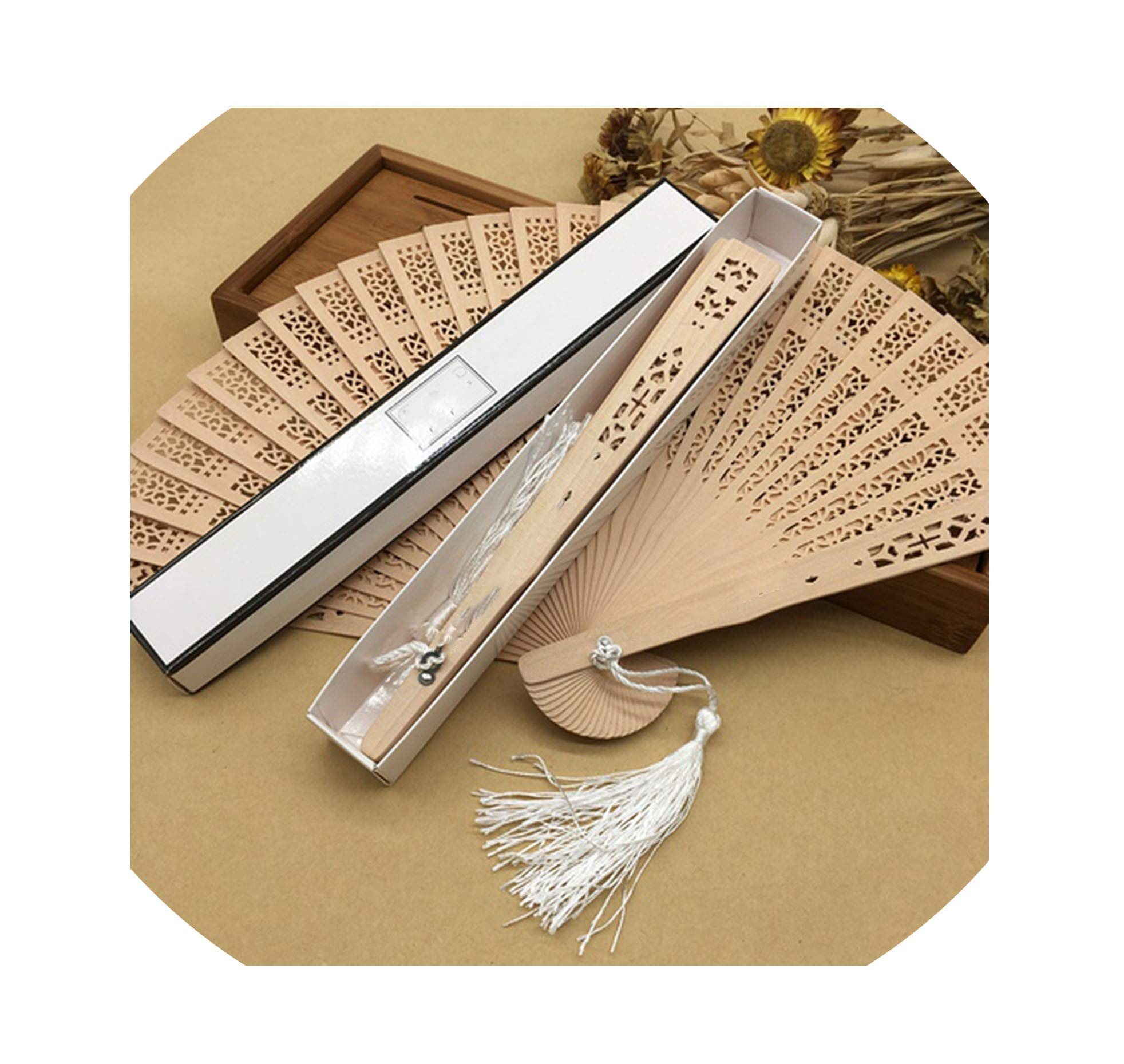 LIUUUU 10pcs/Lot Personalized Printing Text Wood Hollow Carved Chinese Hand Fan Organza Bag Wedding fors and Gifts,1 by LIUUUU