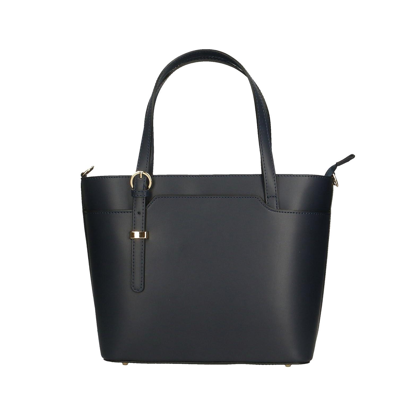 Aren - Woman's handbag in genuine leather made in italy - 37x27x12 Cm B07DJMHLPM ダークブルー ダークブルー