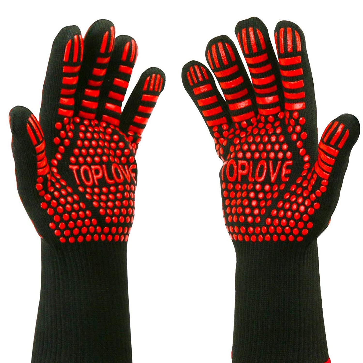 BBQ Grill Gloves,BBQ Gloves Oven Mitt Hand Protection from Grilling,BBQ,Fires,Microwave Oven and Other Hot Work in Kitchen,Outdoor Camping and Garden Party,Heat and Flame Resistant up to 932 °F Aramid Fiber Nomex Bosmutus