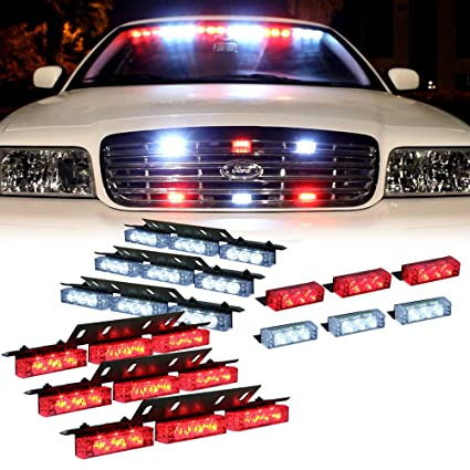 1 set DT MOTO/™ Amber White 54x LED Emergency Vehicle Deck Dash Grill Warning Lights