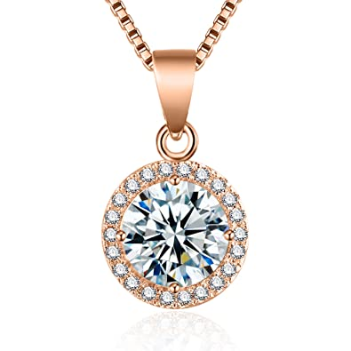 aeec9564fd13 fleur rouge Halo CZ Pendant Necklace - 18k Rose and White Gold Plated Cubic  Zirconia Pendant
