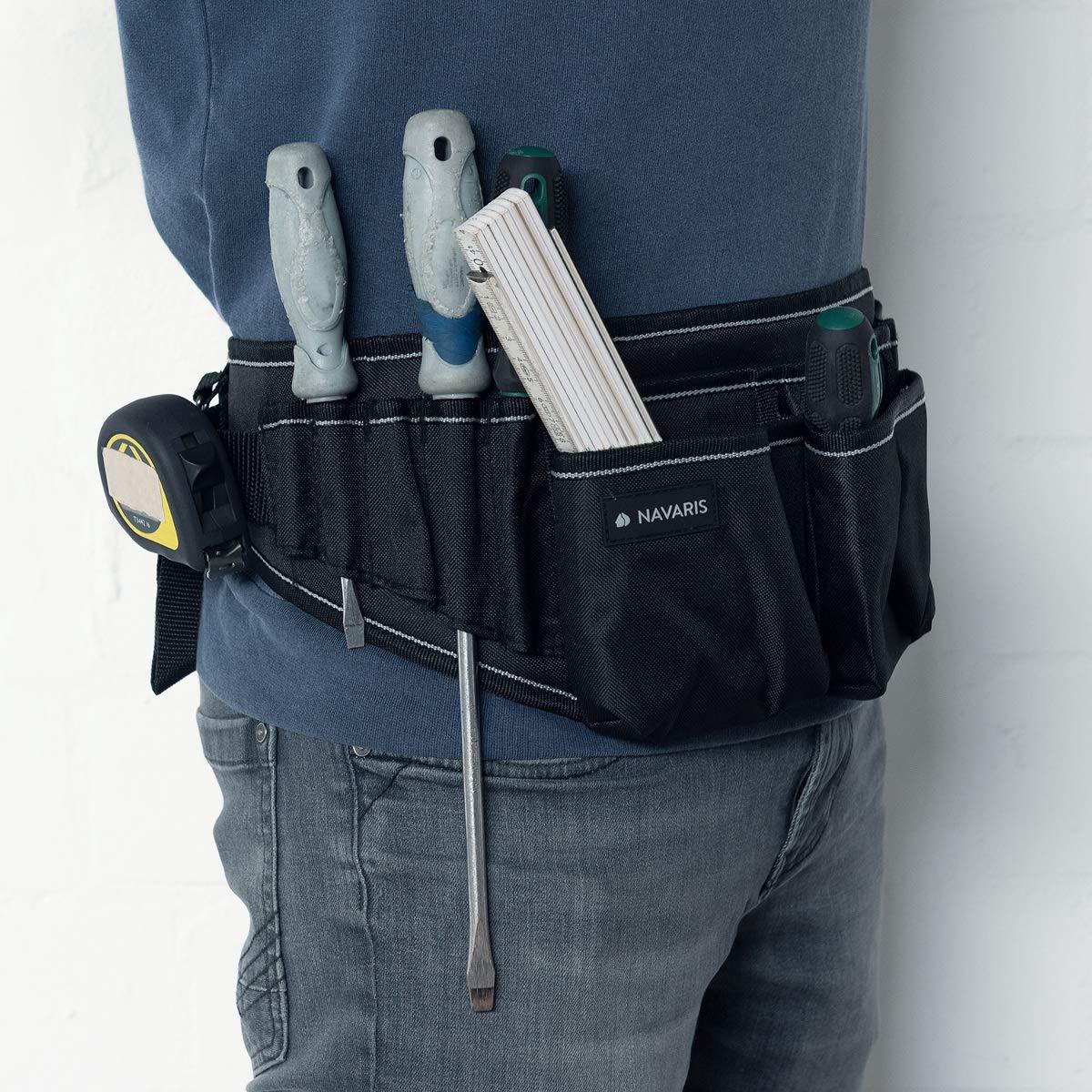 Porta herramientas con varios compartimientos Organizador de herramientas con correa en negro gris Navaris Cintur/ón para herramientas con hebilla