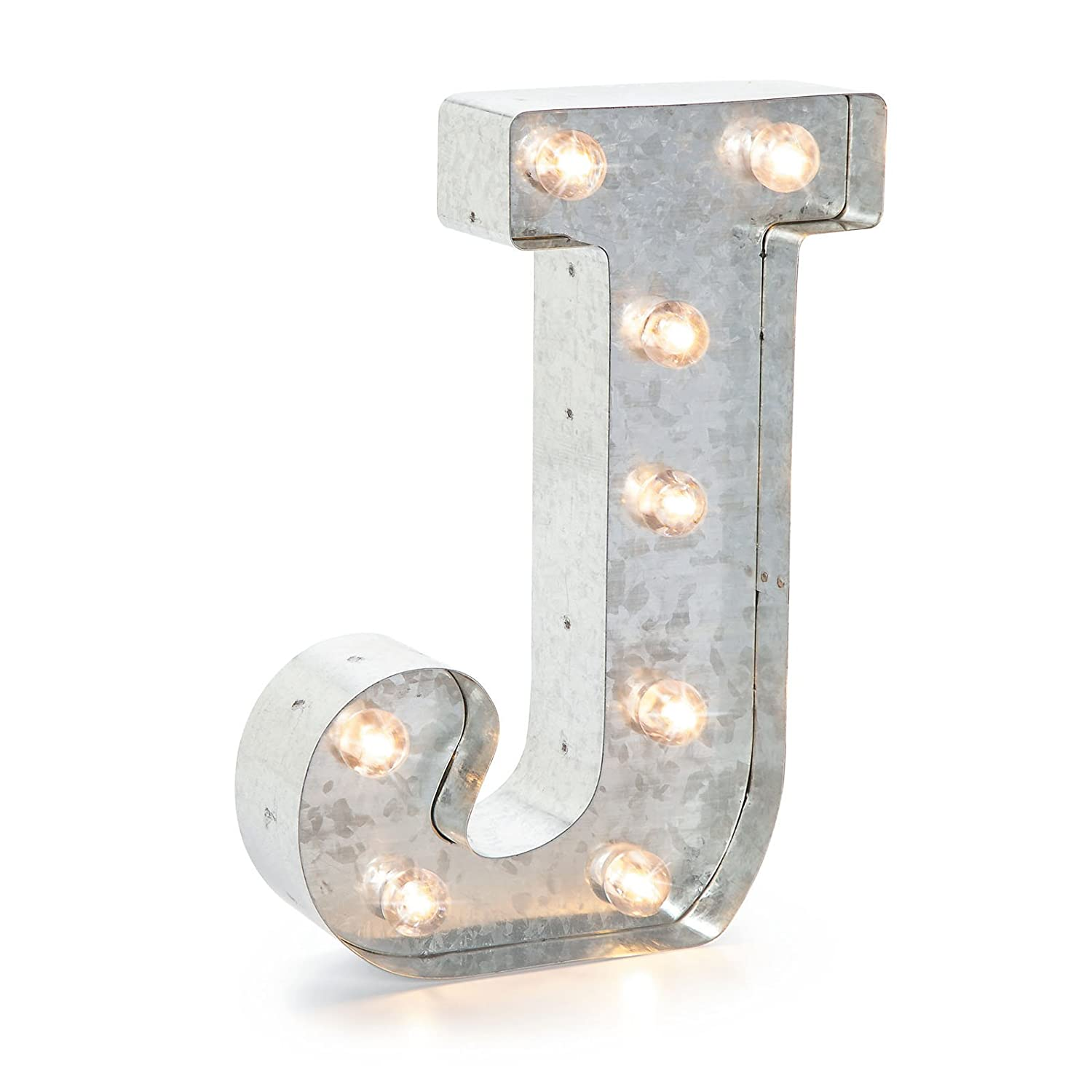 Darice Silver Metal Marquee Letter– J –Vintage-Style Lighted Marquee Letter with On/Off Switch, Ideal for Weddings, Special Events, and Room Décor, Galvanized Metal Finish, 9.87 Inch Tall