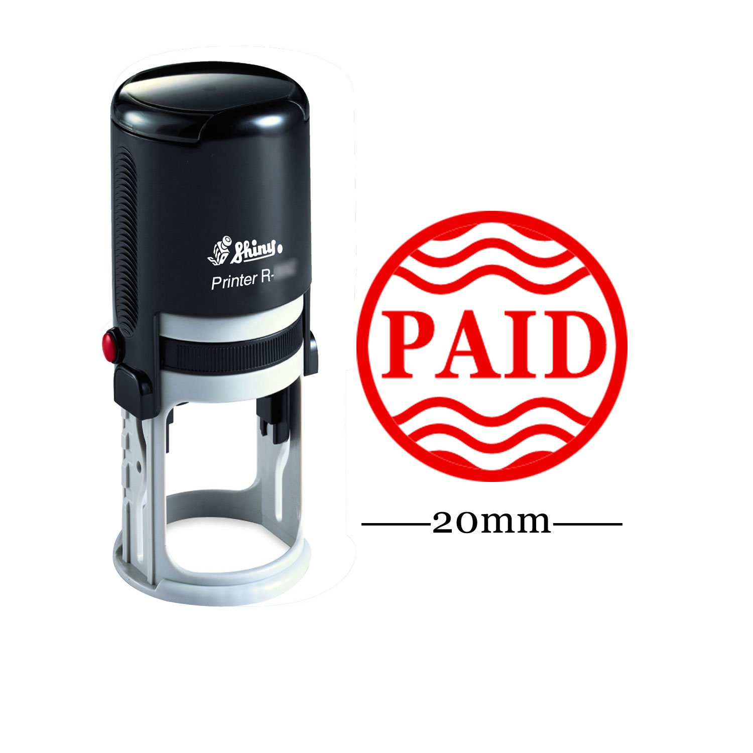 PAID Round Self Inking Office Stationary Stamp Personalized Custom Shiny 20mm Rubber Stamp