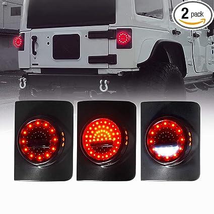 Jeep Wrangler Led Tail Lights >> Amazon Com Icars 07 18 Jeep Wrangler Jk Tail Lights Led Round Smoke