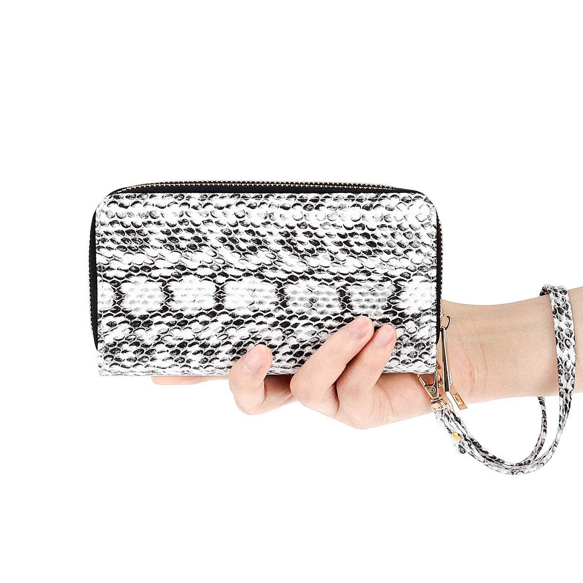 HAWEE Cellphone Wallet Dual Zipper Wristlet Purse with Credit Card Case/Coin Pouch/Smart Phone Pocket Soft Leather for Women or Lady, SnakeSkin White by HAWEE (Image #7)