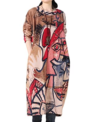 Mordenmiss Women's Spring Round Neckline Print Dress Long Sleeve Pullover Style 2 Coffee