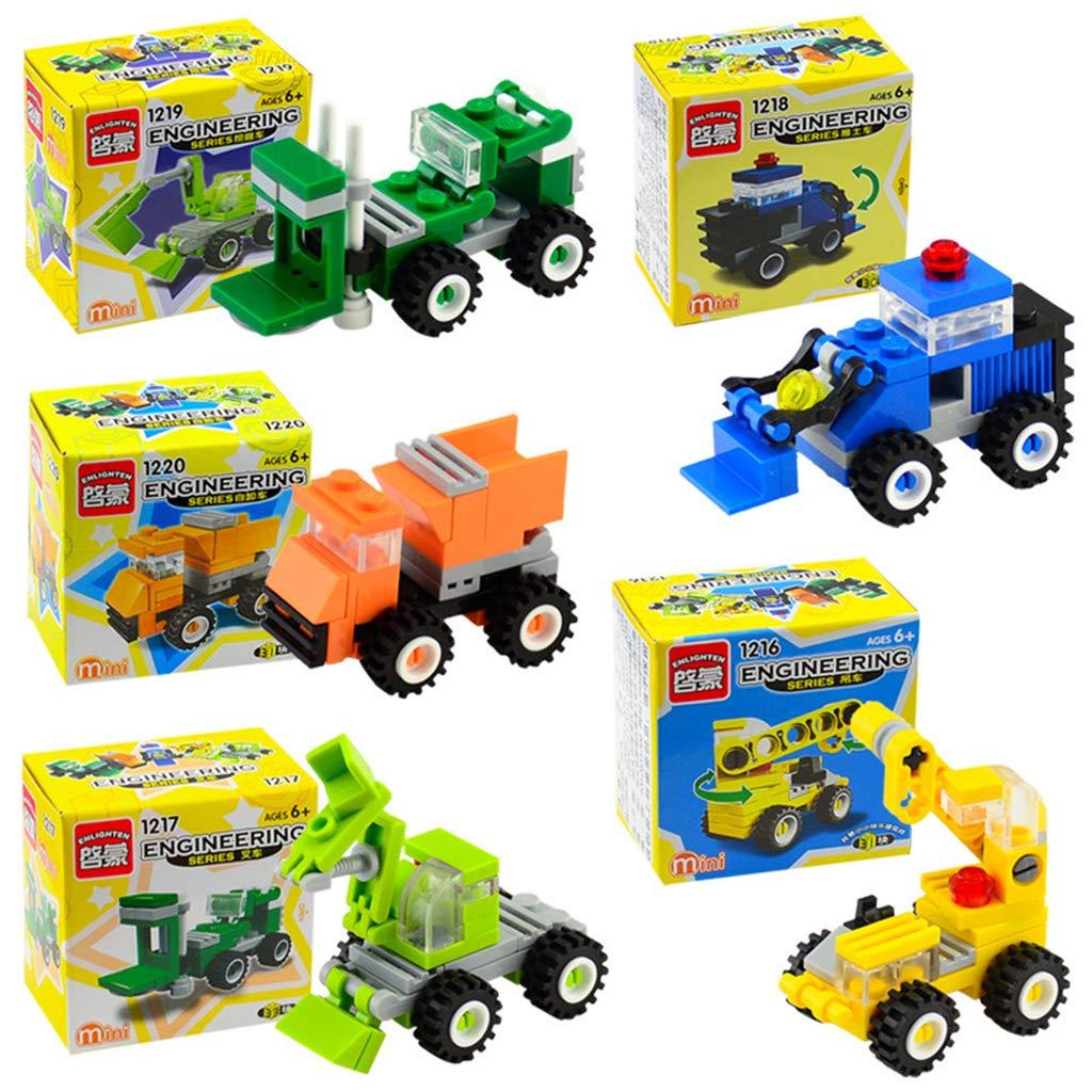 perfeclan DIY Engineering Car Building Blocks de Juguete Educativo para Inspira Imaginaci/ón y Cognici/ón de Hijos 7 x 7 x 4.5 cm Naranja