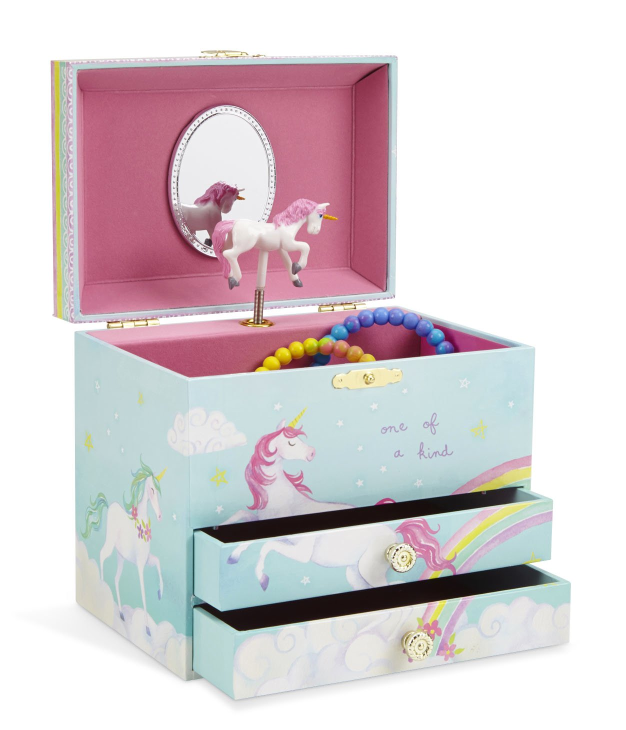 JewelKeeper Unicorn and Rainbow Musical Jewelry Box with 2 Pullout Drawers, Somewhere Over the Rainbow Tune