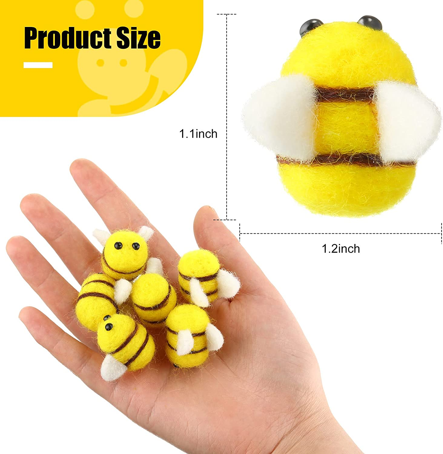 Skylety 30 Pieces Wool Felt Bee Bumble Bee Mini Crafts Honey Bee Pom Poms for Baby Shower Gender Reveal Party Tent Hat Decoration DIY and Handmade Crafts