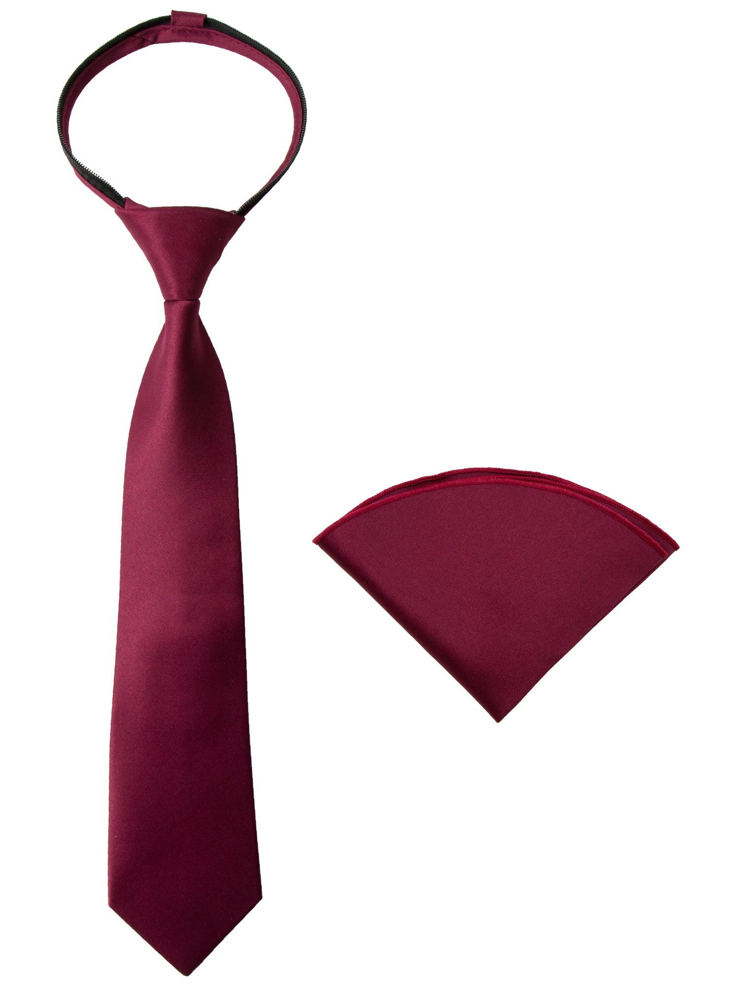Spring Notion Boys' Satin Zipper Necktie and Handkerchief Set Large Burgundy by Spring Notion