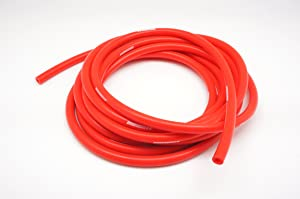 "Autobahn88 High Performance Silicone Vacuum Hose, ID 0.12"" (3mm), OD 0.31"" (8mm), 15 Feet per reel (4.5 Meter), Red"