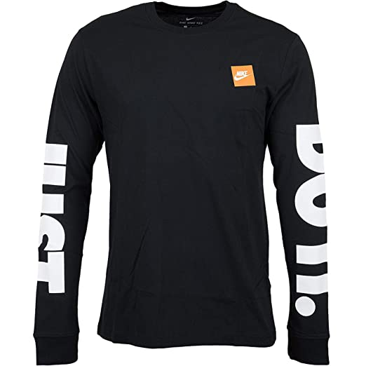 74c62f728 Nike Sportswear Mens JUST DO IT Long Sleeve Tee AR 5197 (Small, Black)