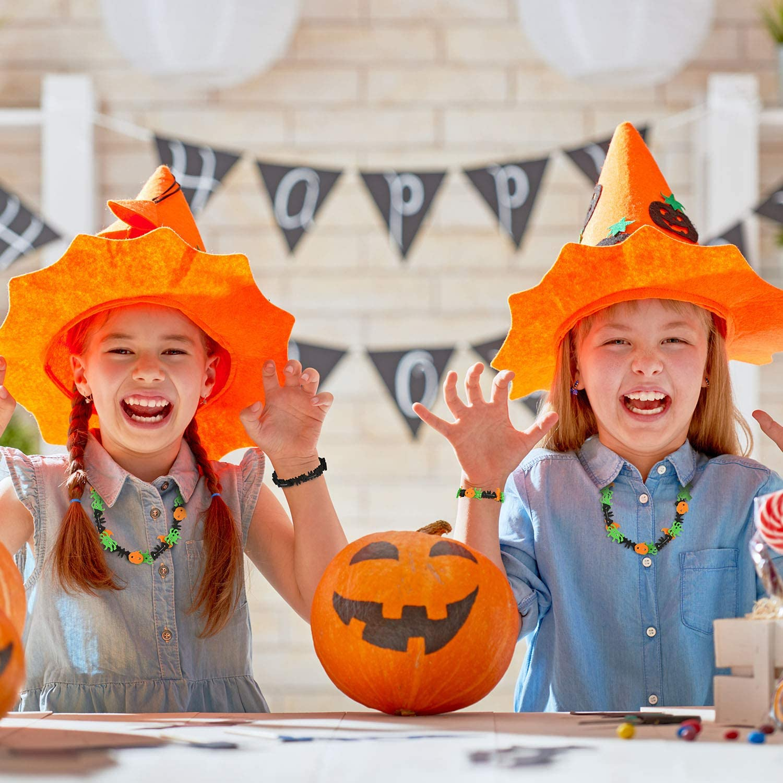 500 Pieces Halloween Foam Beads Halloween Pumpkins Cats Foam Beads Foam Ghosts Spiders Beads Foam Bat Hat Crafts Beads for Jewelry Making DIY Crafts Halloween Home Decoration Activities