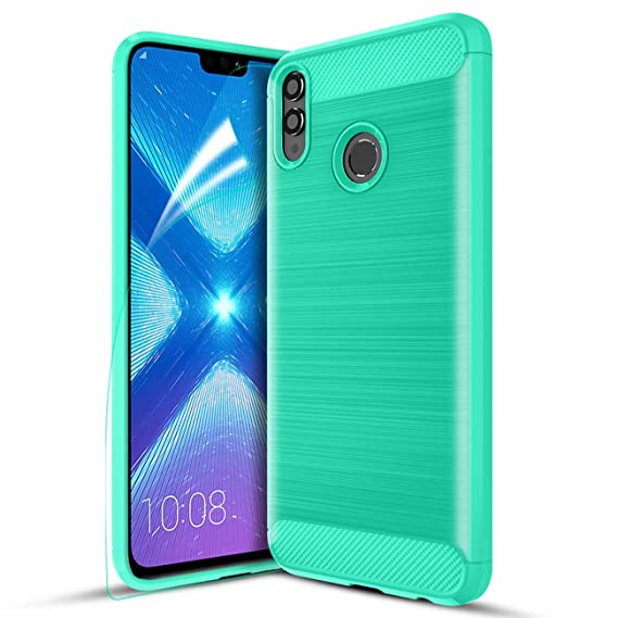Honor 8X Case,Honor 8S Case,CaseRoo Carbon Fiber Soft TPU Phone Case Brushed