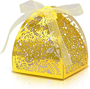 KPOSIYA Pack of 70 Laser Cut Rose Candy Boxes, Favor Boxes 2.5