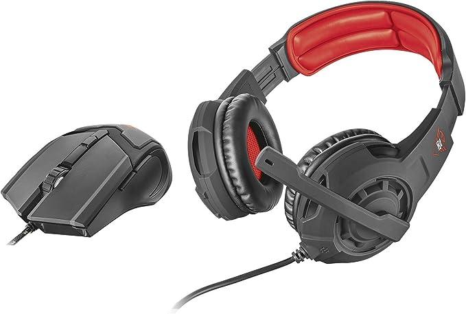 Trust GXT 784 - Pack de Auriculares Stereo y ratón Gaming, Color Negro: Amazon.es: Videojuegos