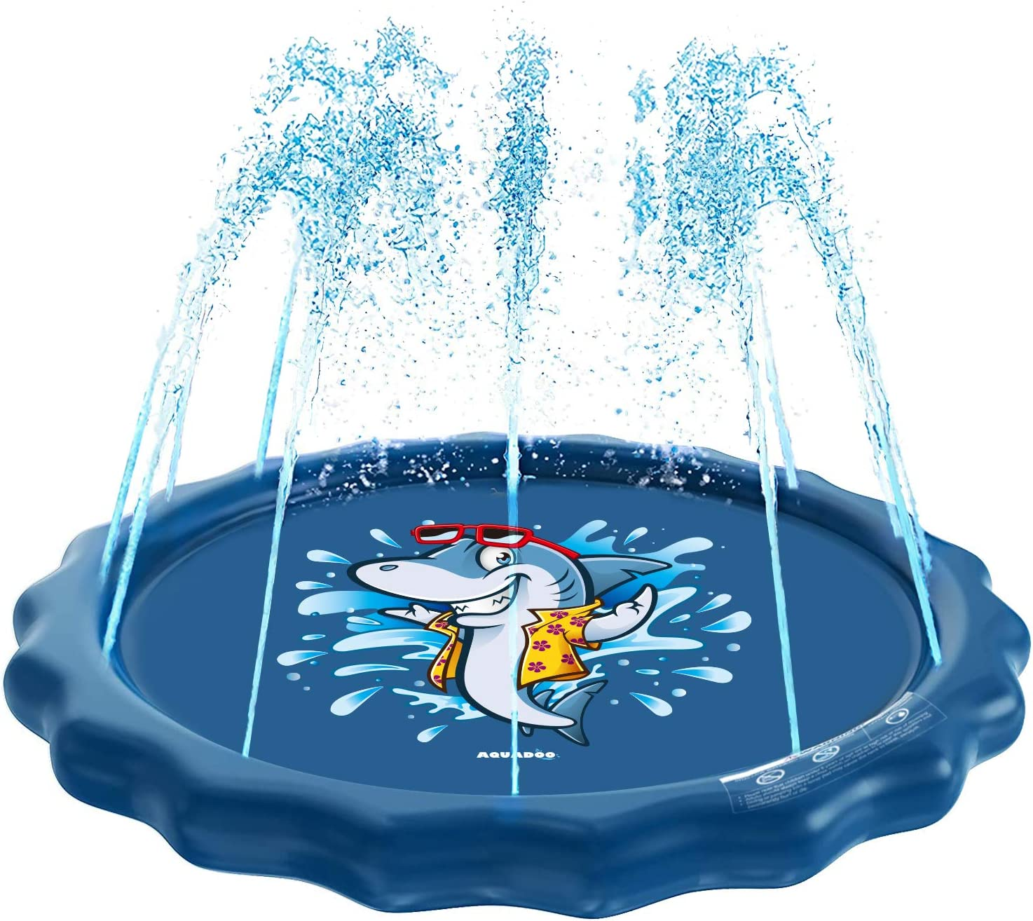 Aquadoo Sprinkler for Kids, Sprinkler Play mat Splash Pad, and Wading Pool – Children's Sprinkler Pool, 68'' Inflatable Water Toys-Cute Shark Outdoor Swimming Pool for Babies and Toddlers