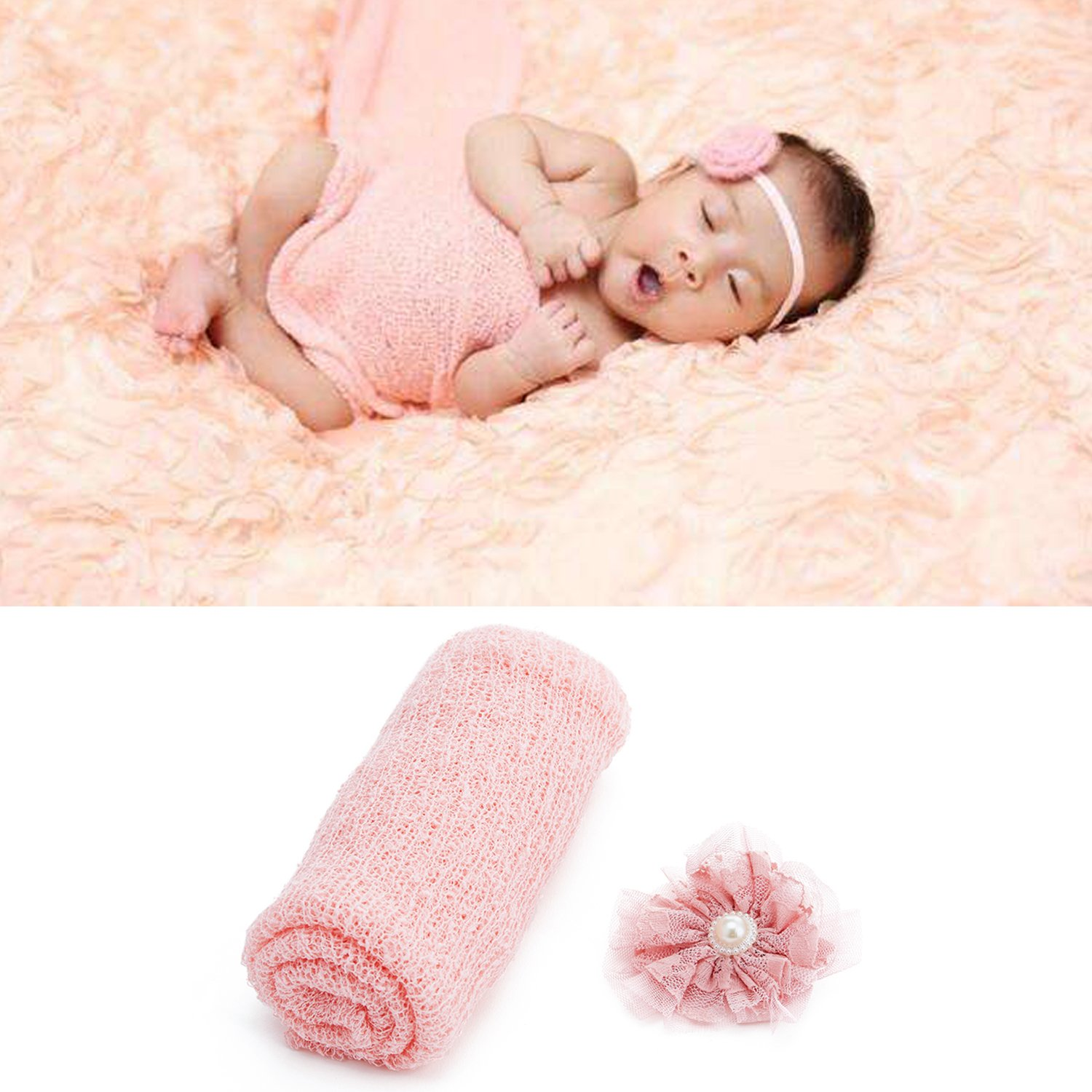 UIMagic Newborn Baby Photography Props - Long Ripple Wrap Blanket and Lace Beads Headband