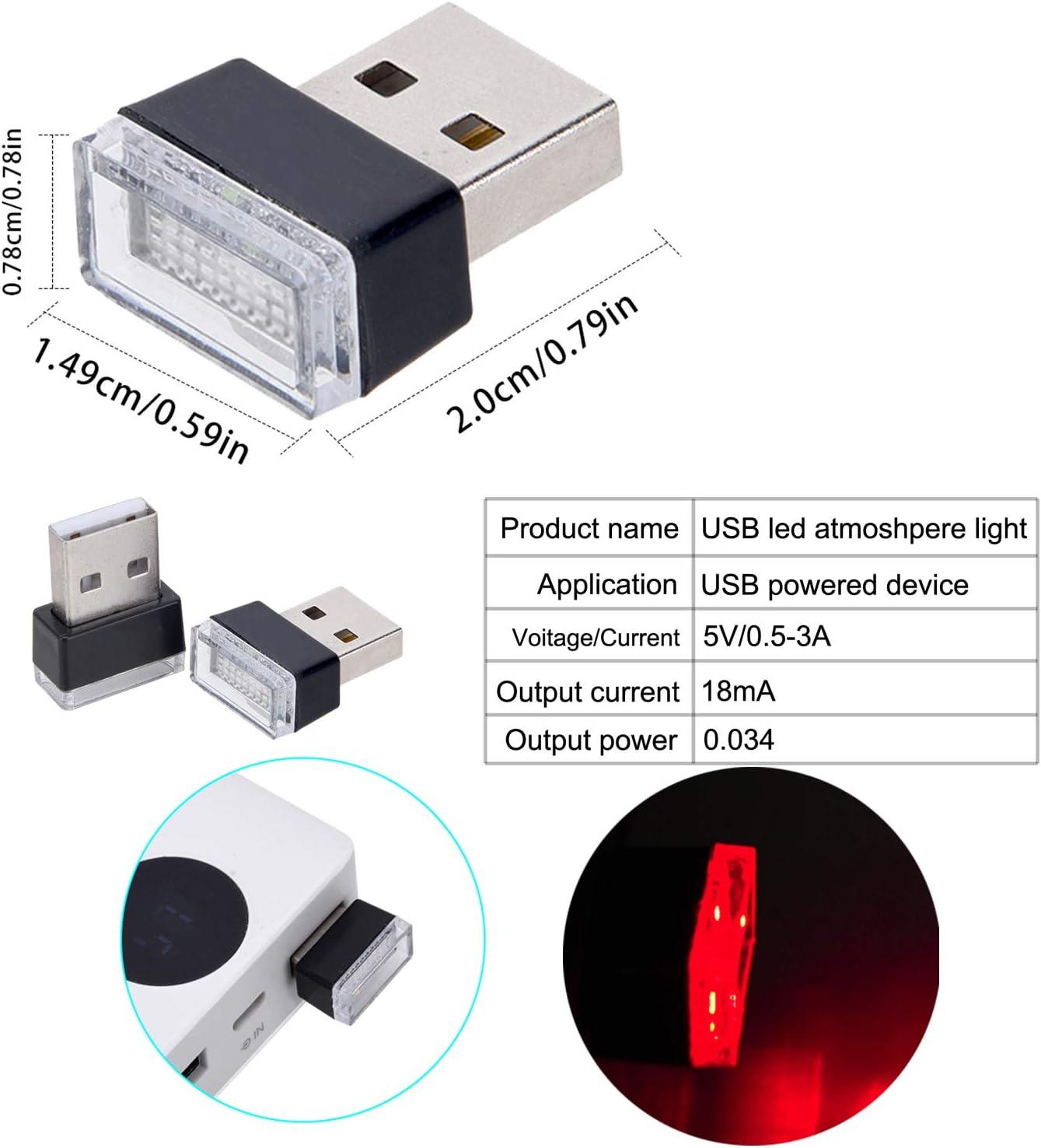 Febrytold 2 Pcs Blue Universal Mini USB LED Car Interior Ambient Atmosphere Lights for Car Interior Trunk Ambient Atmosphere