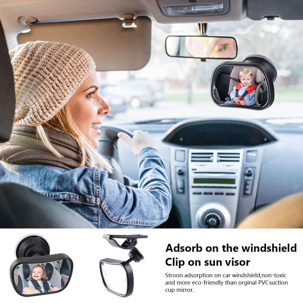 Baby Children S Rear View Mirror For Baby Car Seat With Suction Cups And Clip Adjustable Car Baby View Rear Seat Baby Safety Spikes Black Baby