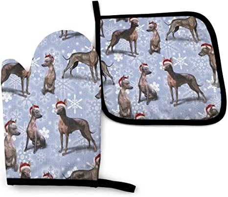 Amazon Com Oven Mitt And Potholder The Christmas Mexican Hairless Xolo Dog Oven Glove And Pot Holder Mat Set Advanced Heat Resistant Oven Mitt Non Slip Textured Grip Pot Holders Home Kitchen