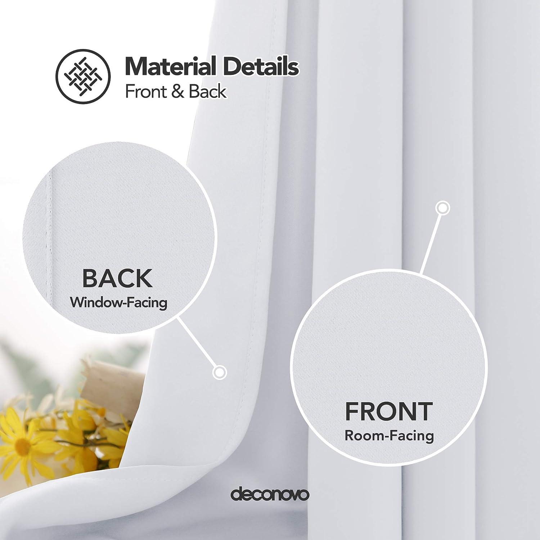 Deconovo Lot de 2 Rideaux Occultants Thermique Rideaux Chambre Design Moderne Rideau Fen/être Salon Blanc P/âle Gris Rideaux Balcon Int/érieur 107x138cm