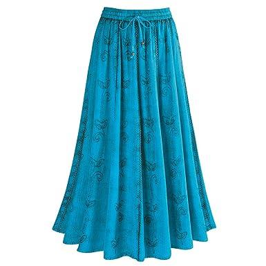 f551bf5ed7 CATALOG CLASSICS Women's Over-Dyed Maxi Skirt - Elastic Waistband - 36