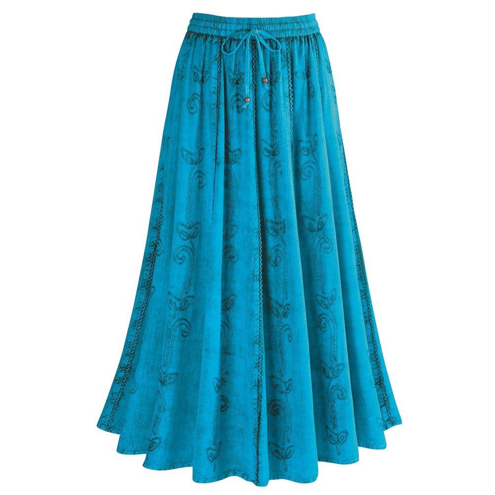 CATALOG CLASSICS Women's Over-Dyed Maxi Skirt - Elastic Waistband - 36'' Long - Turquoise - 1X