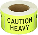 "Aviditi Rectangle Special Handling Label,""Caution - Heavy"", 5"" L x 3"" W, Roll of 500"