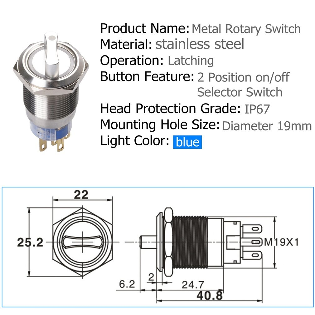 Quentacy 19mm 2 Positon Latching Rotary Toggle Switch Fire Inc Restaurant System Parts Ansulstyle Dpdt Microswitch Spst On Off Round Select Angel Eye Blue 12v Dc Led Light Automotive