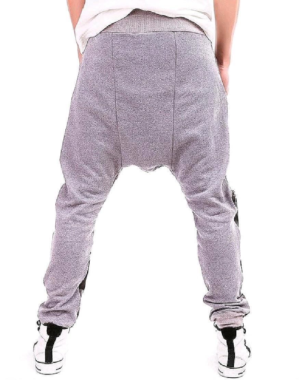 Comfy-Men Casual Faux Leather Jogger Pant Harem Drop Crotch Trousers