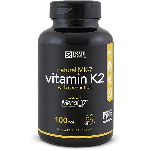 Sports Research Vitamin K2 (MK7) with Organic Coconut Oil and MenaQ7, 100mcg, 60 Veggie Liquid Softgels