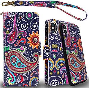 Mefon iPhone Xs Max Detachable Leather Wallet Phone Case, with Tempered Glass and Wrist Strap, Enhanced Magnetic Closure, Durable Slim, Luxury Flip Folio Cases for Apple iPhone Xs Max (Paisley 1)