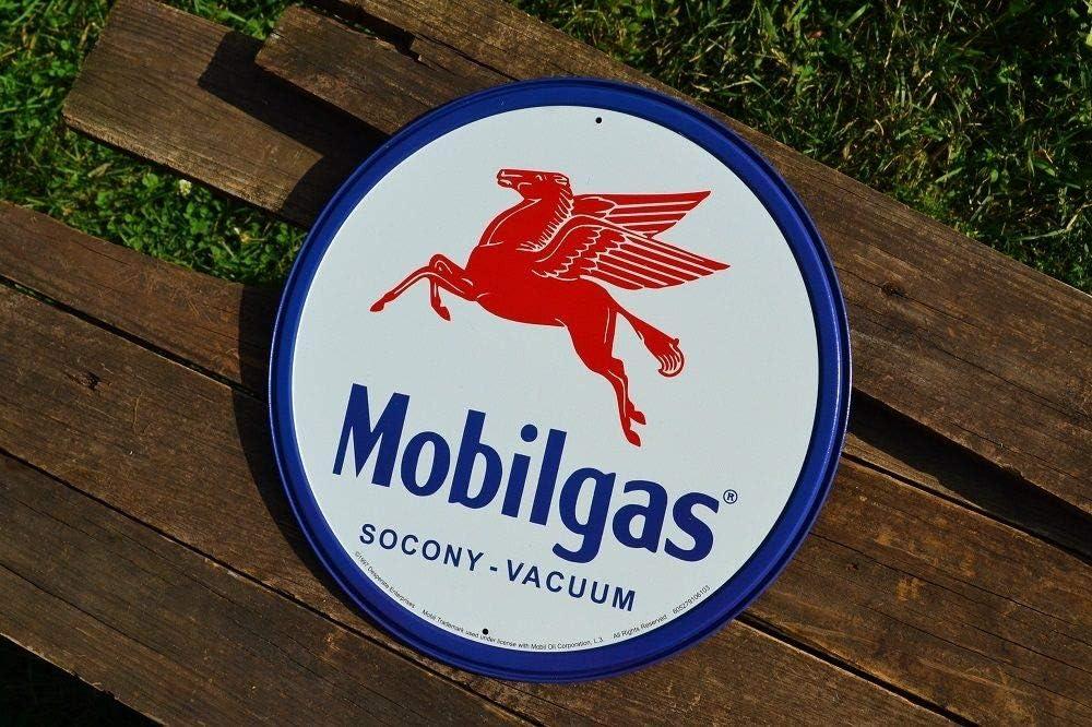 MOBIL PEGASUS Logo Hat Cap Gas SOCONY Weathered Distressed Look Oil Man Cave Blu