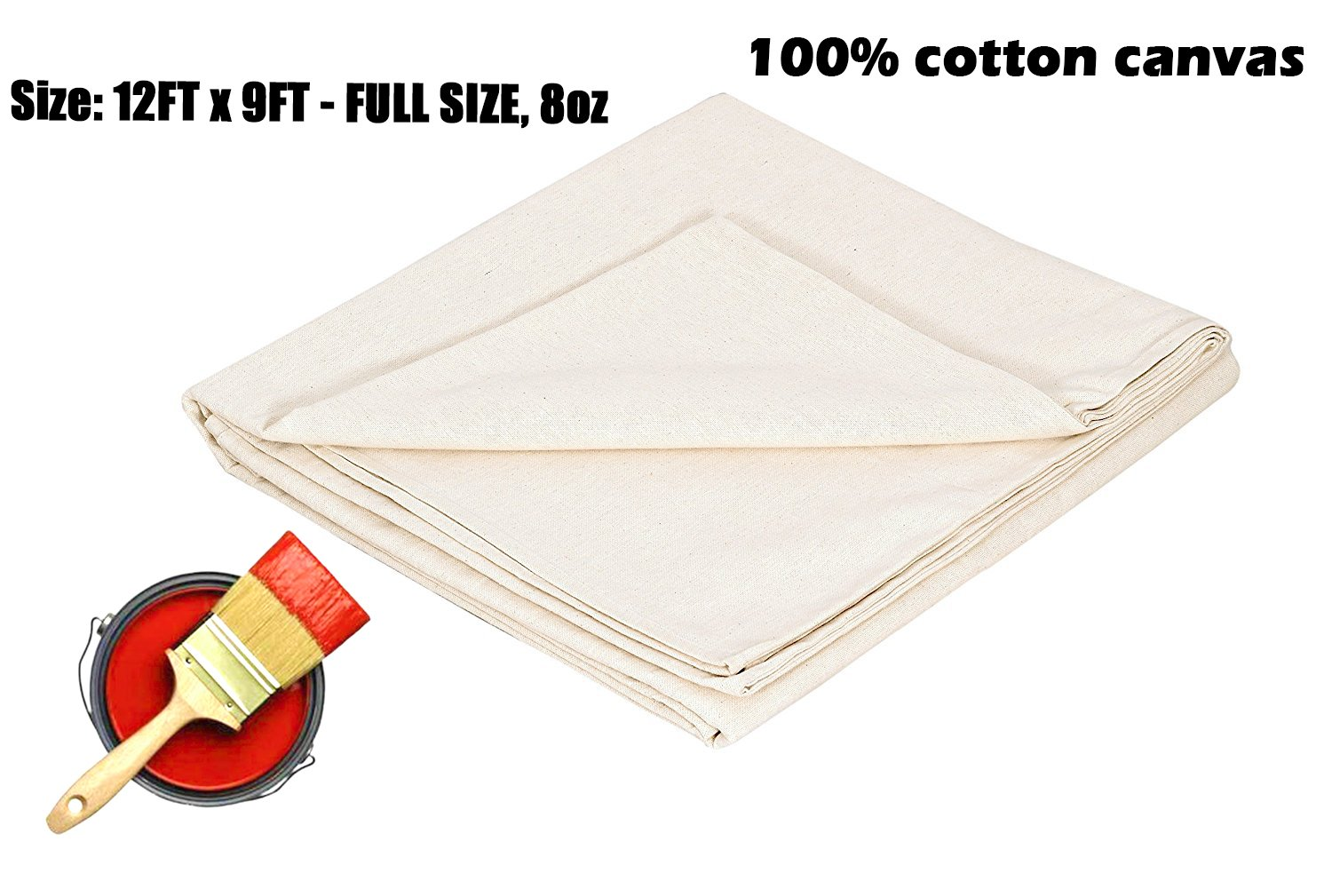 12 x 9 All Purpose Canvas Cotton Drop Cloth | Absorbs Paint Scatter | 8 oz - Anoma Tuff