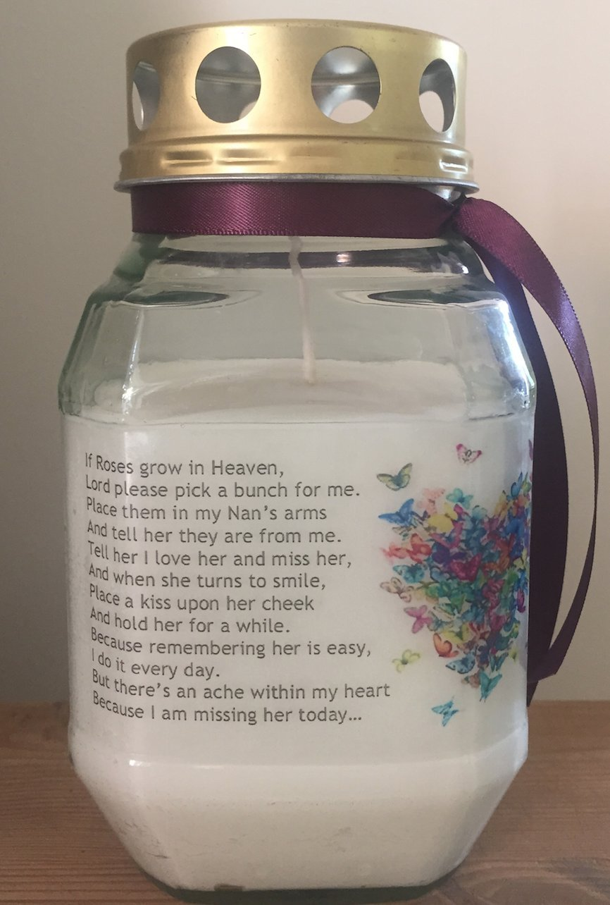 Memorial Candle - In Loving Memory Of Nan - If Roses Grow In Heaven - Butterfly heart - Remembrance Candle - Graveside The Purple Candle Company Ltd