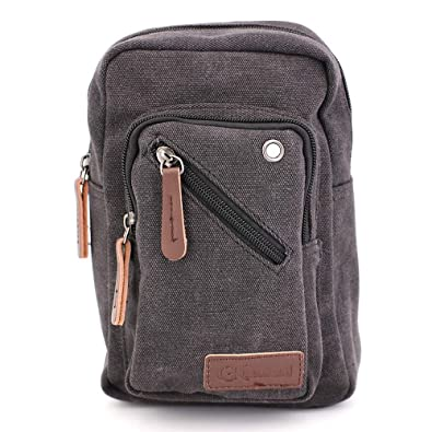 GK Eurosport Small Vintage Canvas Travel Mini Shouldr Bags Crossbody  Messenger Handbag (Black) bddb86c6cc59a