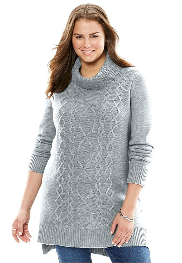 Woman Within Plus Size Mixed Cable Turtleneck Sweater